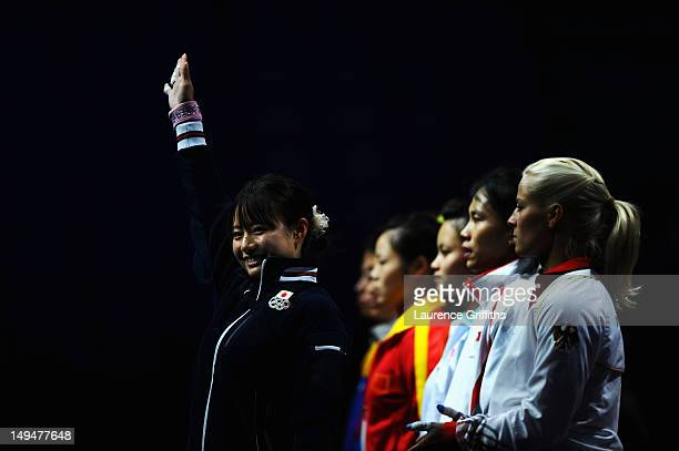 Kanae Yagi of Japan lines up for the Womens 53kg Group B weightlifting on Day 2 of the London 2012 Olympic Games at ExCeL on July 29 2012 in London...