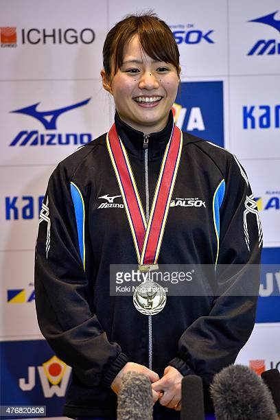 Kanae Yagi speaks during the press conference after winning in women's 53kg group during the All Japan Weight Lifting Championships 2015 at the...