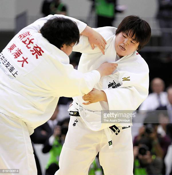 Kanae Yamabe and Sara Asahina compete in the Women's 78kg final during day one of the All Japan Judo Championships By Weight Category at the Fukuoka...
