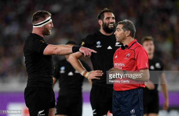 Kanagawa , Japan - 21 September 2019; New Zealand captain Kieran Read in conversation with Referee Jérôme Garcès during the 2019 Rugby World Cup Pool...
