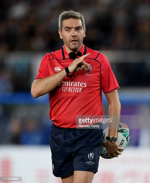 Kanagawa , Japan - 21 September 2019; Referee Jérôme Garcès during the 2019 Rugby World Cup Pool B match between New Zealand and South Africa at the...
