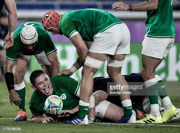 Kanagawa , Japan - 22 September 2019; Tadhg Furlong of Ireland celebrates after scoring his side's third try during the 2019 Rugby World Cup Pool A...