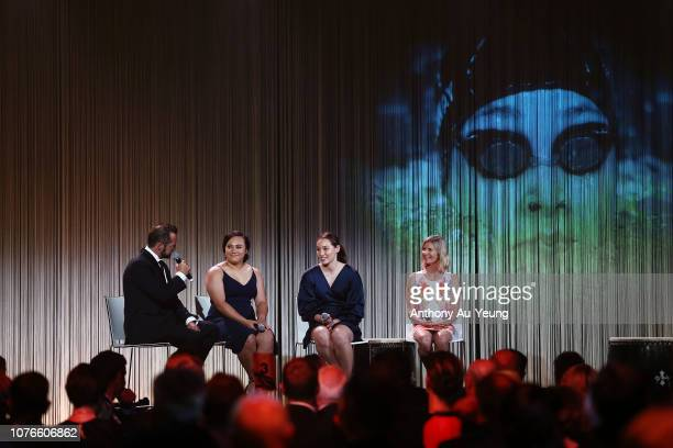 Kanah AndrewsNahu Gina Galloway and Barbara Kendall are interviewed on stage by Scott Stevenson during the 2018 New Zealand Olympic Committee Gala at...