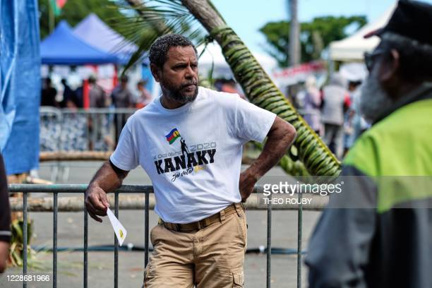 A Kanak independence activist attends a symbolic day marking the taking of possession of New Caledonia by France on September 24 1953 organized by...