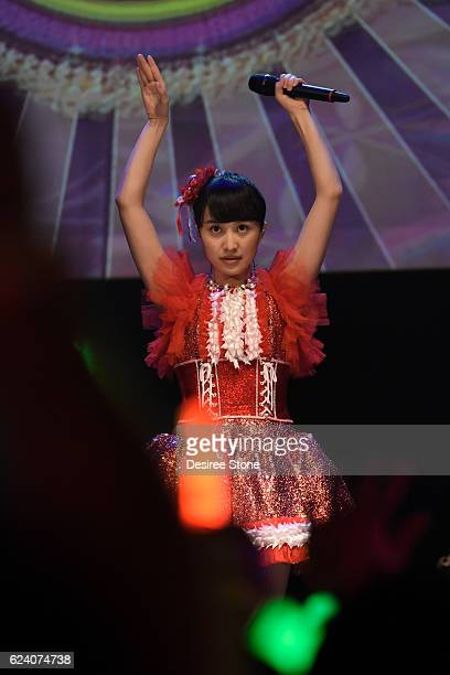 Kanako Momota of Momoiro Clover Z performs at The Wiltern on November 17 2016 in Los Angeles California