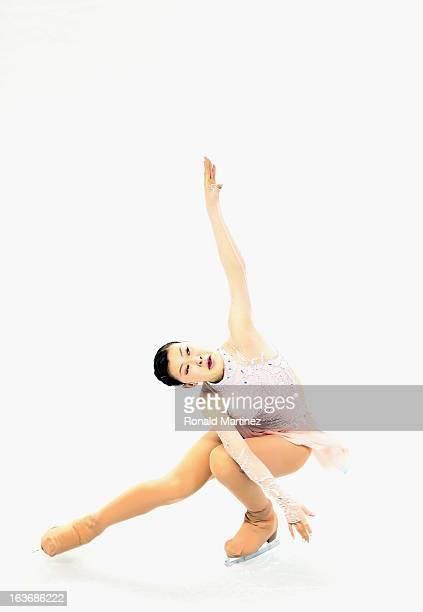 Kanako Murakami of Japan competes in the Ladies Short Program during the 2013 ISU World Figure Skating Championships at Budweiser Gardens on March 14...