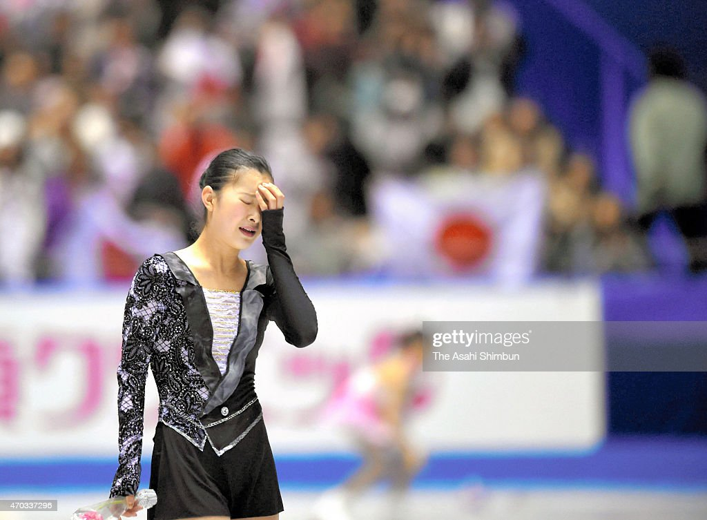 Kanako Murakami of Japan reacts after competing in the Ladies' Free Skating during the day three of the ISU World Team Trophy at Yoyogi National Gymnasium on April 18, 2015 in Tokyo, Japan.