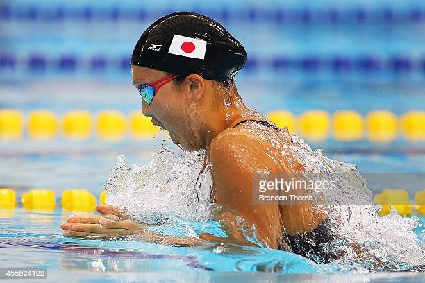 Kanako Watanabe of Japan competes in heat three of the Women's 100m Breaststroke during day two of the 2014 Asian Games at Munhak Park TaeHwan...