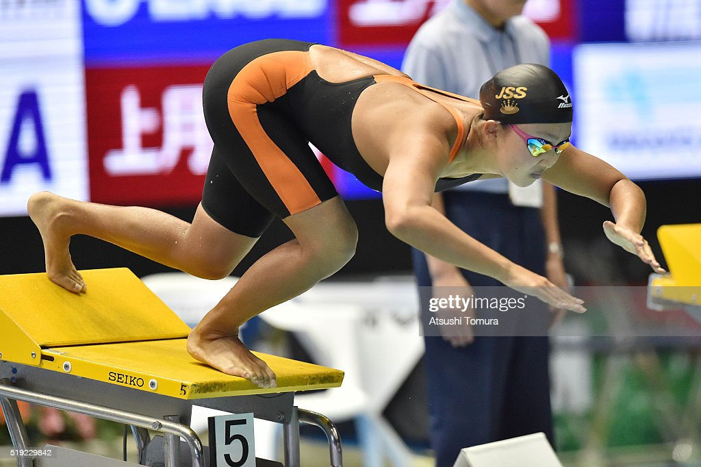 Kanako Watanabe of Japan competes in the Women's 100m Breaststroke semi finals during the Japan Swim 2016 at Tokyo Tatsumi International Swimming Pool on April 5, 2016 in Tokyo, Japan.