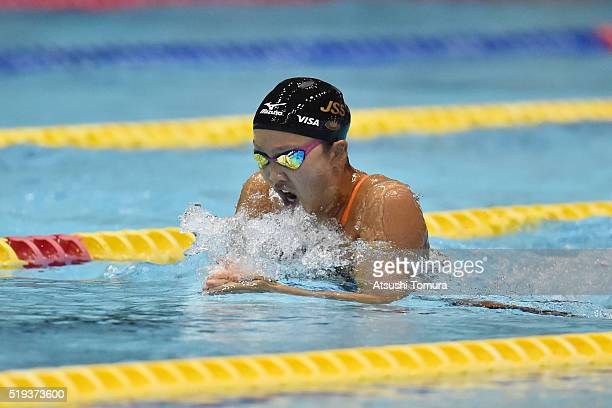 Kanako Watanabe of Japan competes in the Women's 100m Breaststroke final during the Japan Swim 2016 at Tokyo Tatsumi International Swimming Pool on...