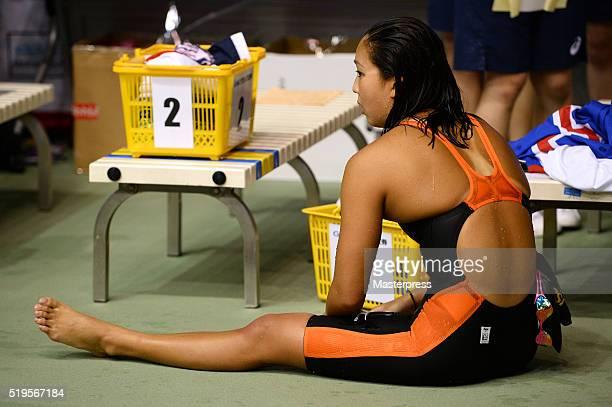 Kanako Watanabe of Japan looks on after the Women's 200m Individual medley final during the Japan Swim 2016 at Tokyo Tatsumi International Swimming...