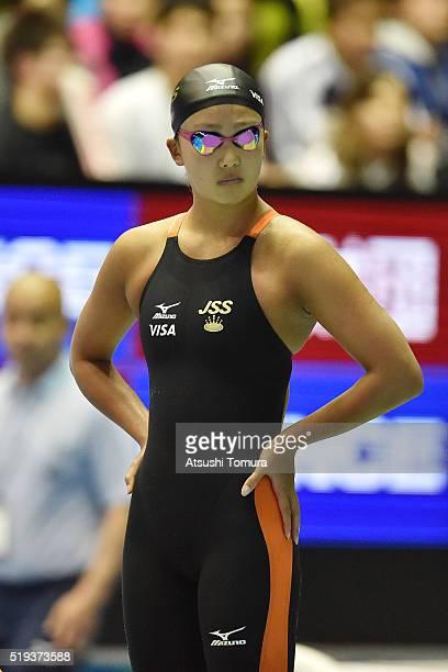 Kanako Watanabe of Japan looks on during the Japan Swim 2016 at Tokyo Tatsumi International Swimming Pool on April 6 2016 in Tokyo Japan