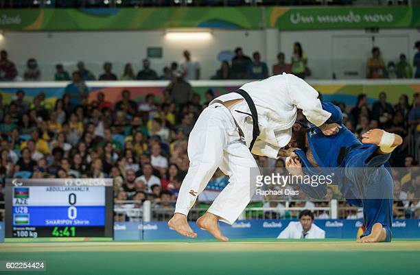 Kanan Abdullakhanli of Azerbaijan battles with Shirin Sharipov of Uzbekistan Mens 100kg Judo Bronze Medal bout on Day 3 of the Rio 2016 Paralympic...