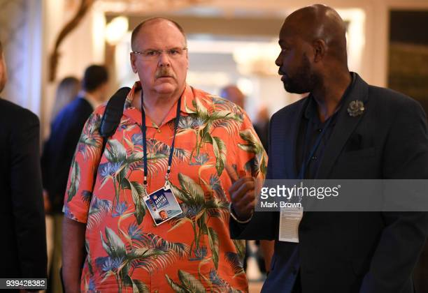 Kanas City Chiefs head coach Andy Reid leaves the final meetings at the 2018 NFL Annual Meetings at The RitzCarlton Orlando Great Lakes on March 28...