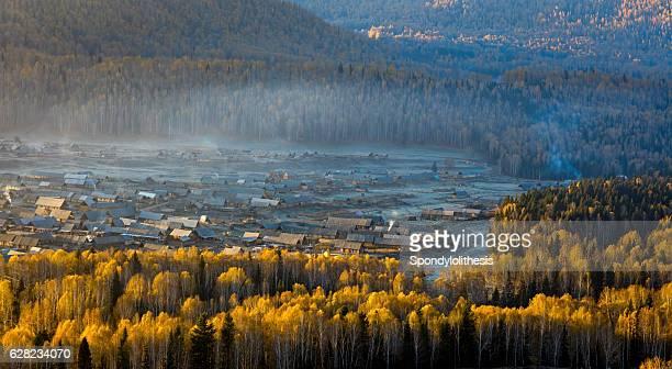 Kanas Hemu village in the morning, Xinjiang, China