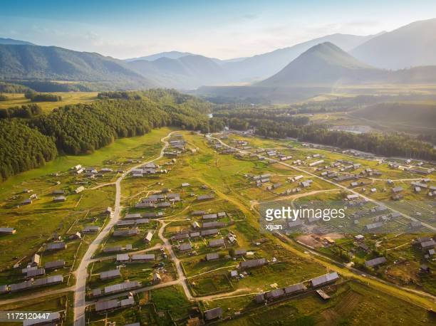 kanas hemu village,aerial view - altay xinjiang province china stock pictures, royalty-free photos & images