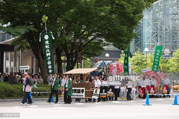 kanazawa hyakumangoku festival in japan - hokuriku region stock photos and pictures