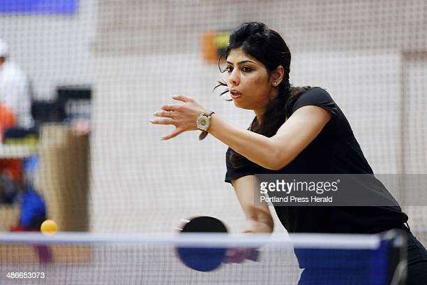 Kanchan Thakur of Portsmouth NH competes in the class C division of a table tennis tournament Sat April 19 at the Kennebunk Recreation Department