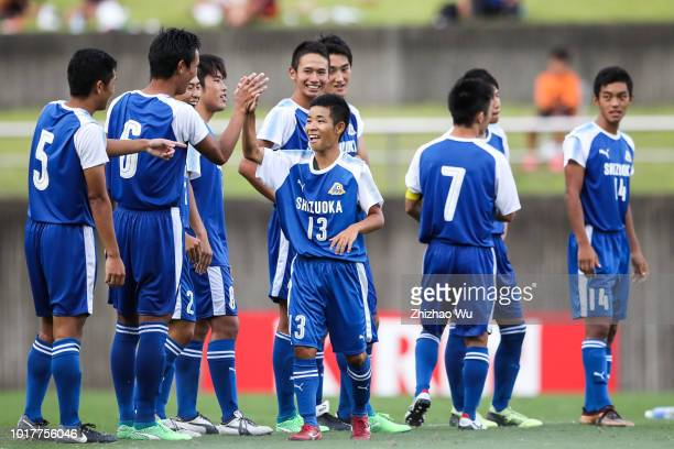 Kanda Rinsei of Shizuoka in action during the Shizuoka Youth Selection Team and Paraguay U18 during the SBS Cup International Youth Soccer at Fujieda...