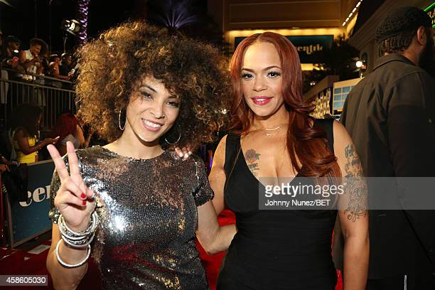 Kandace Springs and Faith Evans attend 2014 Soul Train Music Awards on November 7 2014 in Las Vegas Nevada
