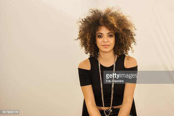 Kandace Springs portrait session backstage at the Cheltenham Jazz Festival on May 2 2016 in Cheltenham England