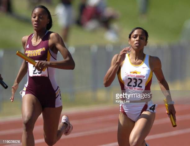 Kandace Tucker of Arizona State and Alexis Weatherspoon of USC battle down the stretch of the women's 400-meter relay in the NCAA Division I West...