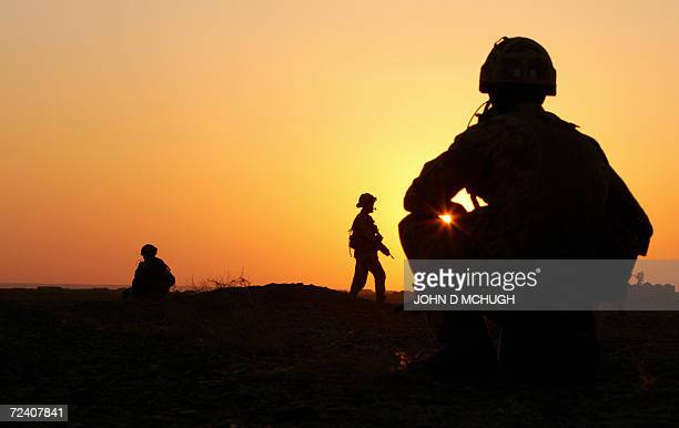 British soldiers from 2 Squadron Royal Air Force Regiment conduct a patrol outside Kandahar Air Field 04 November 2006 The RAF regiment is the ground...