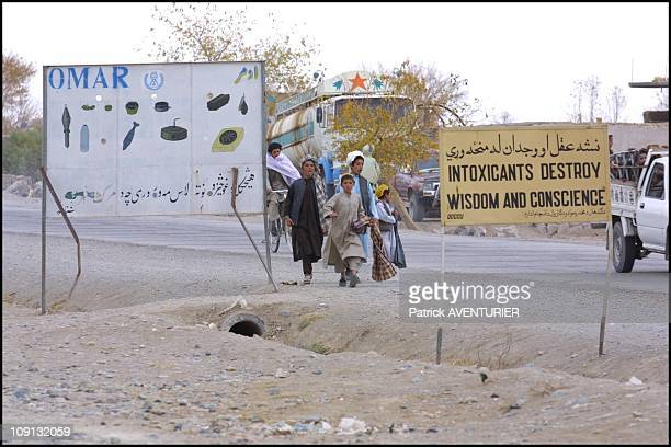 Kandahar Road On January 12Th Afghanistan Examples Of AntiLandmines And AntiDrugs Propaganda Supported By Taliban Leader Mullah Omar In The City Of...