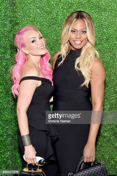 Kandee Johnson and Laverne Cox attend KKWxMario Dinner at JeanGeorges Beverly Hills on March 31 2018 in Beverly Hills California