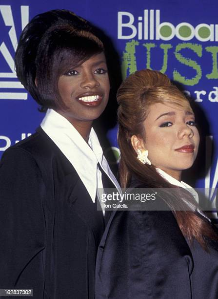Kandi Burress and Tiny of Xscape attend Sixth Annual Billboard Music Awards on December 6 1995 at the New York Coliseum in New York City