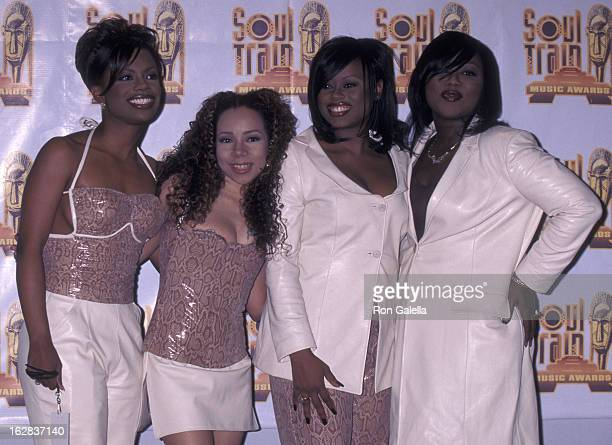 Kandi Burress Tiny Tamika Scott and LaTocha Scott of Xscape attend 10th Annual Soul Train Music Awards on March 29 1996 at the Shrine Auditorium in...