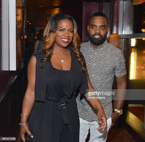 Kandi Burruss and Todd Tucker attend 'Tiny' Tameka Harris Celebrity Birthday Affair at Scales 925 Restaurant on July 14 2015 in Atlanta Georgia
