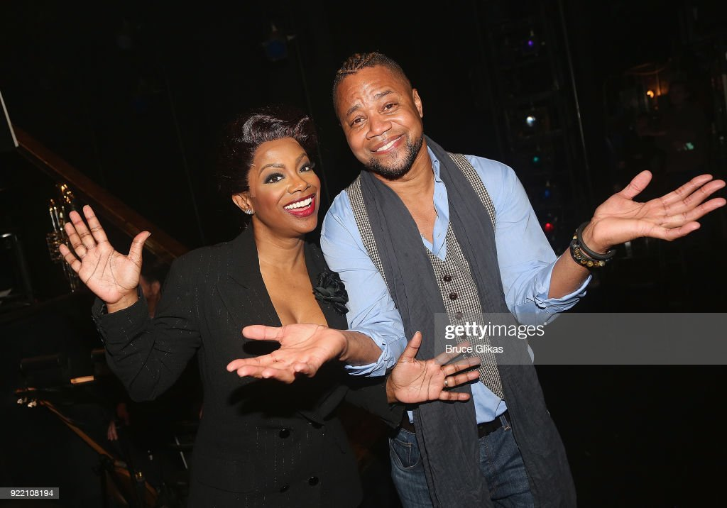 Kandi Burruss as 'Matron Mama Morton', Jessica Ernest as 'Roxie Hart' and Cuba Gooding Jr (who will be joining the London production of 'Chicago' as 'Billy Flynn' on March 26th) pose backstage at the hit musical 'Chicago' on Broadway at The Ambassador Theater on February 20, 2018 in New York City.