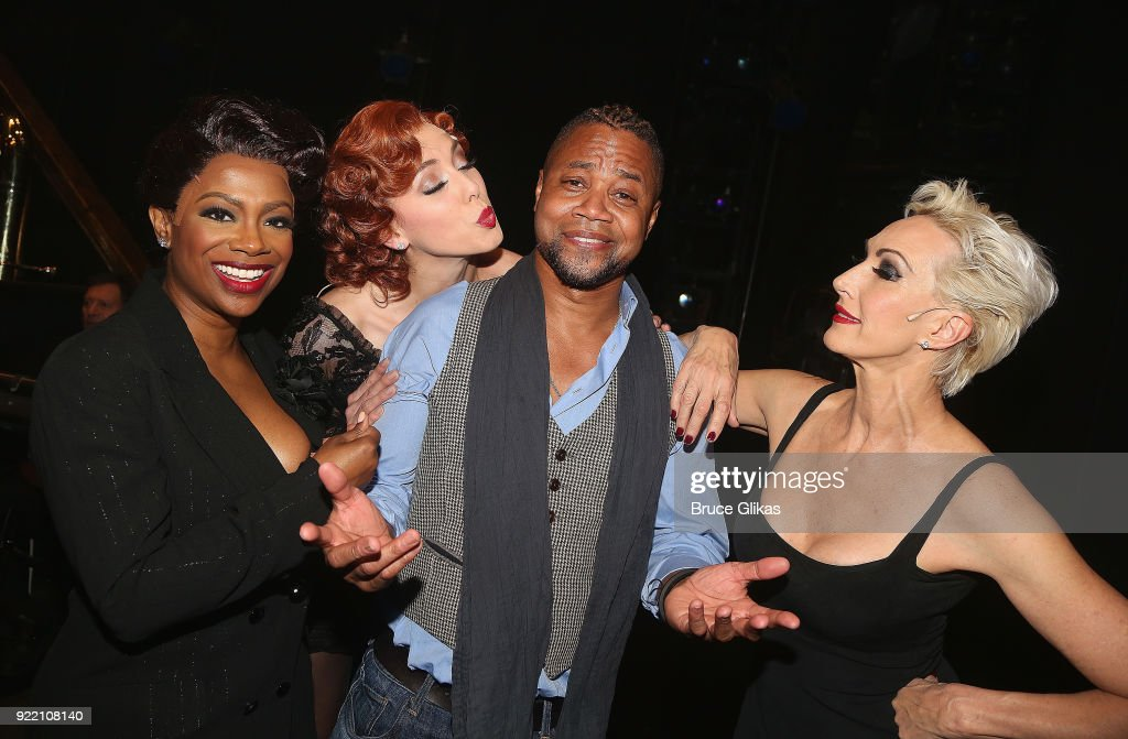 Kandi Burruss as 'Matron Mama Morton', Jessica Ernest as 'Roxie Hart', Cuba Gooding Jr (who will be joining the London production of 'Chicago' as 'Billy Flynn' on March 26th) and Amra-Faye Wright as 'Velma Kelly' pose backstage at the hit musical 'Chicago' on Broadway at The Ambassador Theater on February 20, 2018 in New York City.