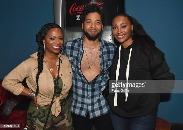 """Kandi Burruss, Jussie Smollett, and Cynthia Bailey pose backstage during """"Sum of My Music"""" tour at The Masquerade on May 29, 2018 in Atlanta, Georgia."""