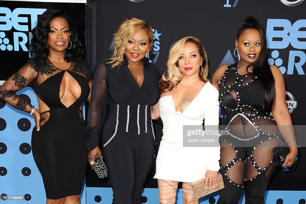 Kandi Burruss, LaTocha Scott, Tameka 'Tiny' Cottle, and Tamika Scott of Xscape attend the 2017 BET Awards at Microsoft Theater on June 25, 2017 in Los Angeles, California.