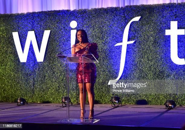 Kandi Burruss speaks at the 2019 WIFTA Gala at Four Seasons Hotel on November 9 2019 in Atlanta Georgia