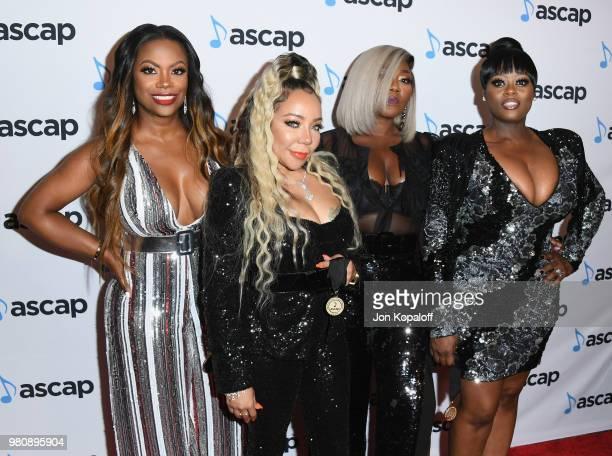 Kandi Burruss Tameka 'Tiny' Harris Tamika Scott and LaTocha Scott attend the 2018 ASCAP Rhythm Soul Music Awards at the Beverly Wilshire Four Seasons...