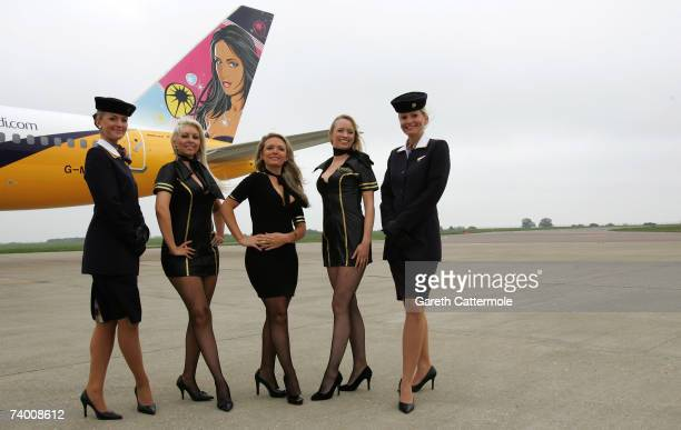 Kandi Girls and Monarch crew unveil a Monarch Airlines Boeing 757 emblazoned with the Hed Kandi logo at Luton Airport on April 27 2007 in Luton...