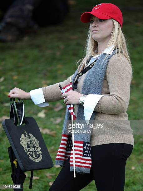 Kandi Harris partner of US Ryder Cup player Hunter Mahan watches during the second day of the 2010 Ryder Cup golf competition between US and Europe...