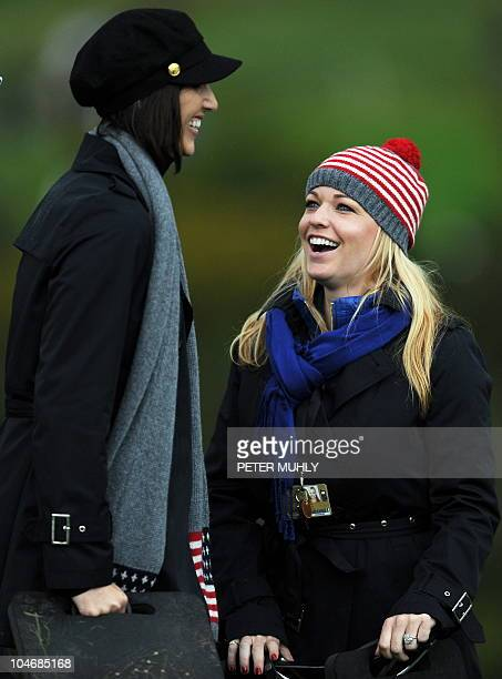 Kandi Harris partner of US Ryder Cup player Hunter Mahan watches the action on the third day of the 2010 Ryder Cup golf competition between US and...