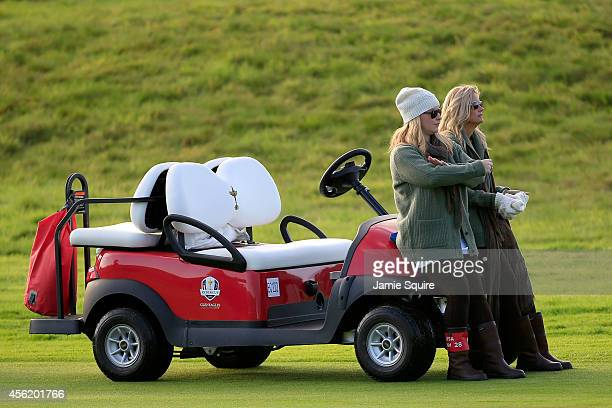 Kandi Mahan and Tabitha Furyk watch during the Morning Fourballs of the 2014 Ryder Cup on the PGA Centenary course at the Gleneagles Hotel on...