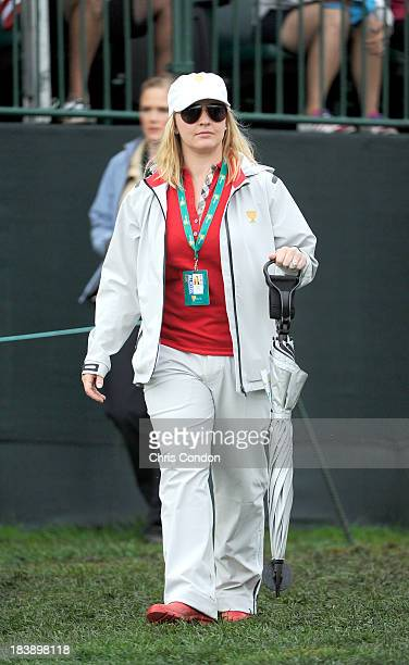Kandi Mahan wife of Hunter Mahan of the US Team is seen on the first hole during the Final Round Singles Matches of The Presidents Cup at the...