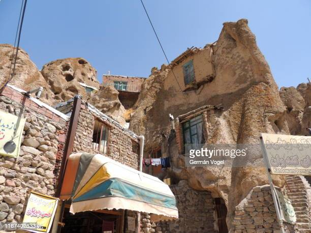 kandovan inhabited cave stone dwellings, iran - vogel stock pictures, royalty-free photos & images