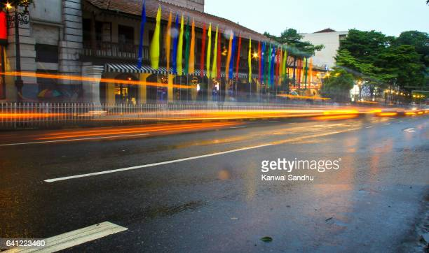 Kandy's famous central street with light streaks of cars passing by