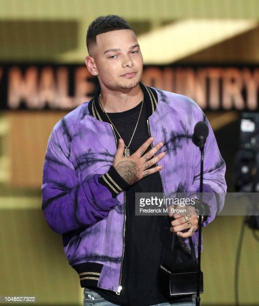 Kane Brown accepts the Favorite Male Artist Country award onstage during the 2018 American Music Awards at Microsoft Theater on October 9 2018 in Los...
