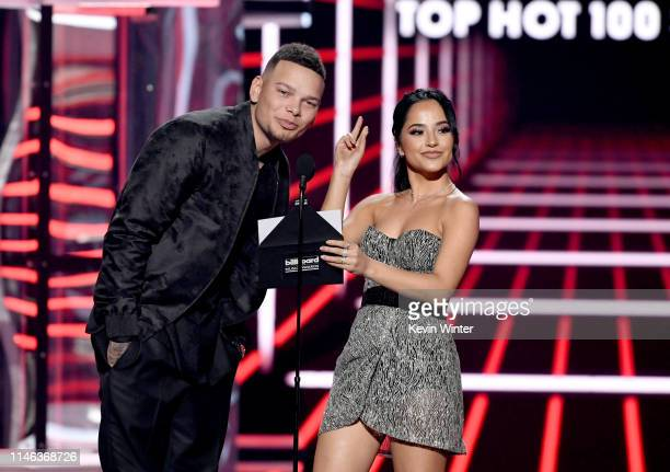 Kane Brown and Becky G speak onstage during the 2019 Billboard Music Awards at MGM Grand Garden Arena on May 01 2019 in Las Vegas Nevada