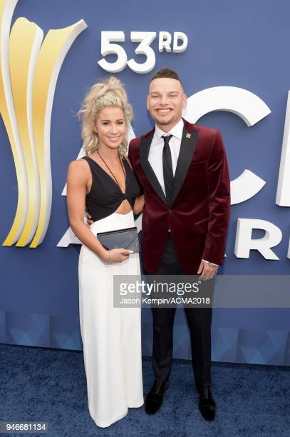 Kane Brown and Katelyn Jae attend the 53rd Academy of Country Music Awards at MGM Grand Garden Arena on April 15 2018 in Las Vegas Nevada