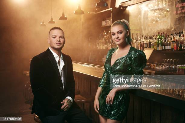 Kane Brown and Kelsea Ballerini pose during a host promo shoot for the 2021 CMT Music Awards on May 12, 2021 in Nashville, Tennessee.