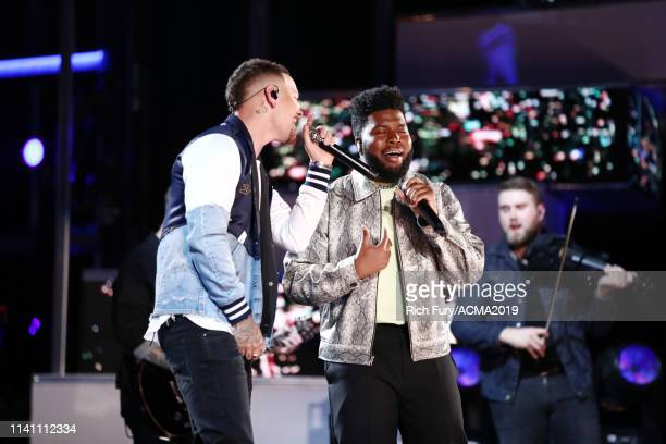 Kane Brown and Khalid perform onstage during the 54th Academy Of Country Music Awards at MGM Grand Garden Arena on April 07 2019 in Las Vegas Nevada